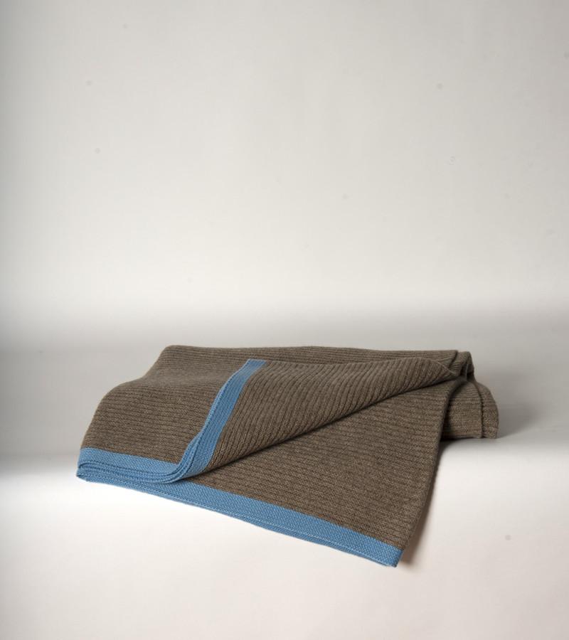 Platinum & Sky blue Ribbed Knit Yak Down Throw