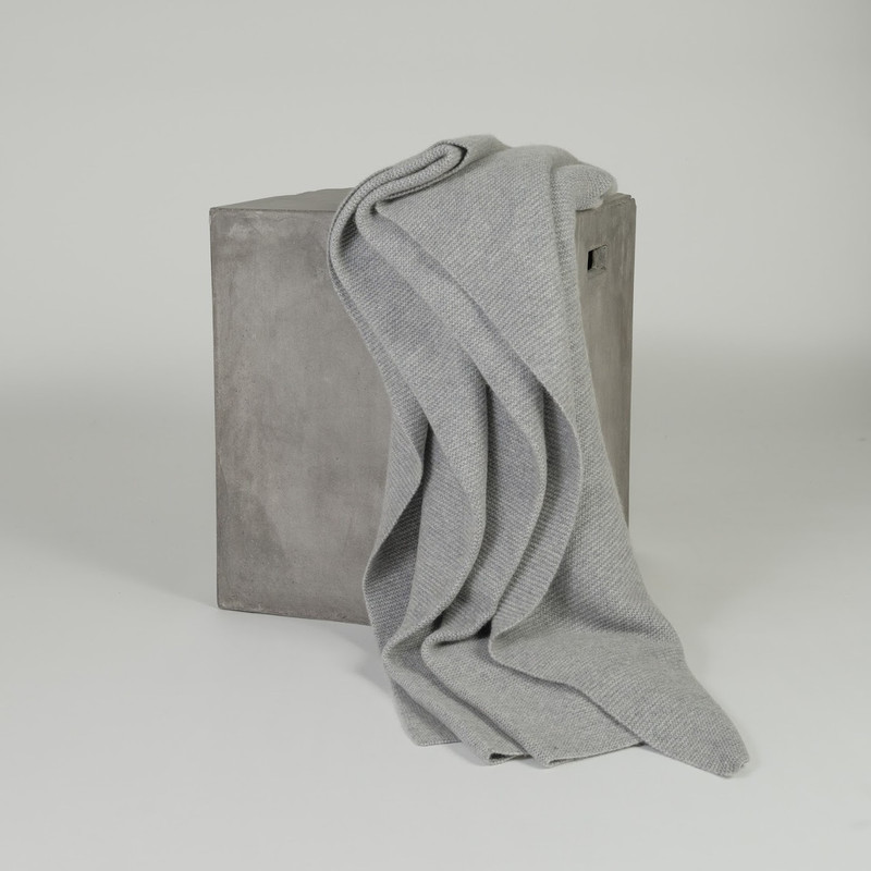 Organic Grey Purl Knit Cashmere Throw