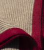 Platinum & Burgundy Ribbed Knit Yak Down Throw