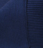 Cobalt Blue Ribbed Knit Cashmere Throw