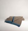 Platinum & Capri Blue Ribbed Knit Yak Down Throw