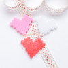 Glitter Pixel Heart Resin Cabochon - 9 pieces