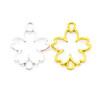 Sakura Flower Open Bezel Gold Charm Connector - 4 pieces