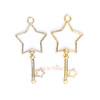 Star Key Open Bezel Gold Charm - 3 pcs