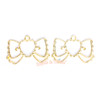 Kawaii Ribbon Open Bezel Gold Charm - 3 pcs