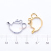 Teapot Open Bezel Metal Charm - 6 pieces