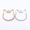 Cat Kitty Open Bezel Metal Charm - 4 pieces