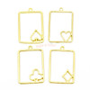 Poker Cards Theme Open Bezel Gold Set (4 pieces)