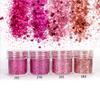 Magenta Rose Colours Hexagon Glitter Set (4 pieces)