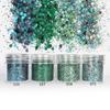 Green Mint Colours Hexagon Glitter Set (4 pieces)
