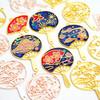 Japanese Hand Fan Theme Open Bezel Charms (4 pieces)