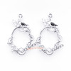 Silver Butterfly Oval Frame Open Bezel Charms (4 pieces)