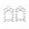 Silver Mirror Frame Open Bezel Gold Charm (4 pieces)
