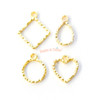 Small Wavy Outline Gold Bezel Charm (4 pieces)