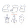 Christmas Theme Silver Bezel Charm (6 pieces)