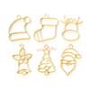 Christmas Theme Light Gold Bezel Charm (6 pieces)