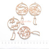 Japanese Windchime Theme Rose Gold Bezel Charms (4 pieces)