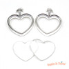 Heart Silver Thick Open Bezel Charm Faceted Glass (2 sets)