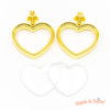 Heart Gold Thick Open Bezel Charm Faceted Glass (2 sets)