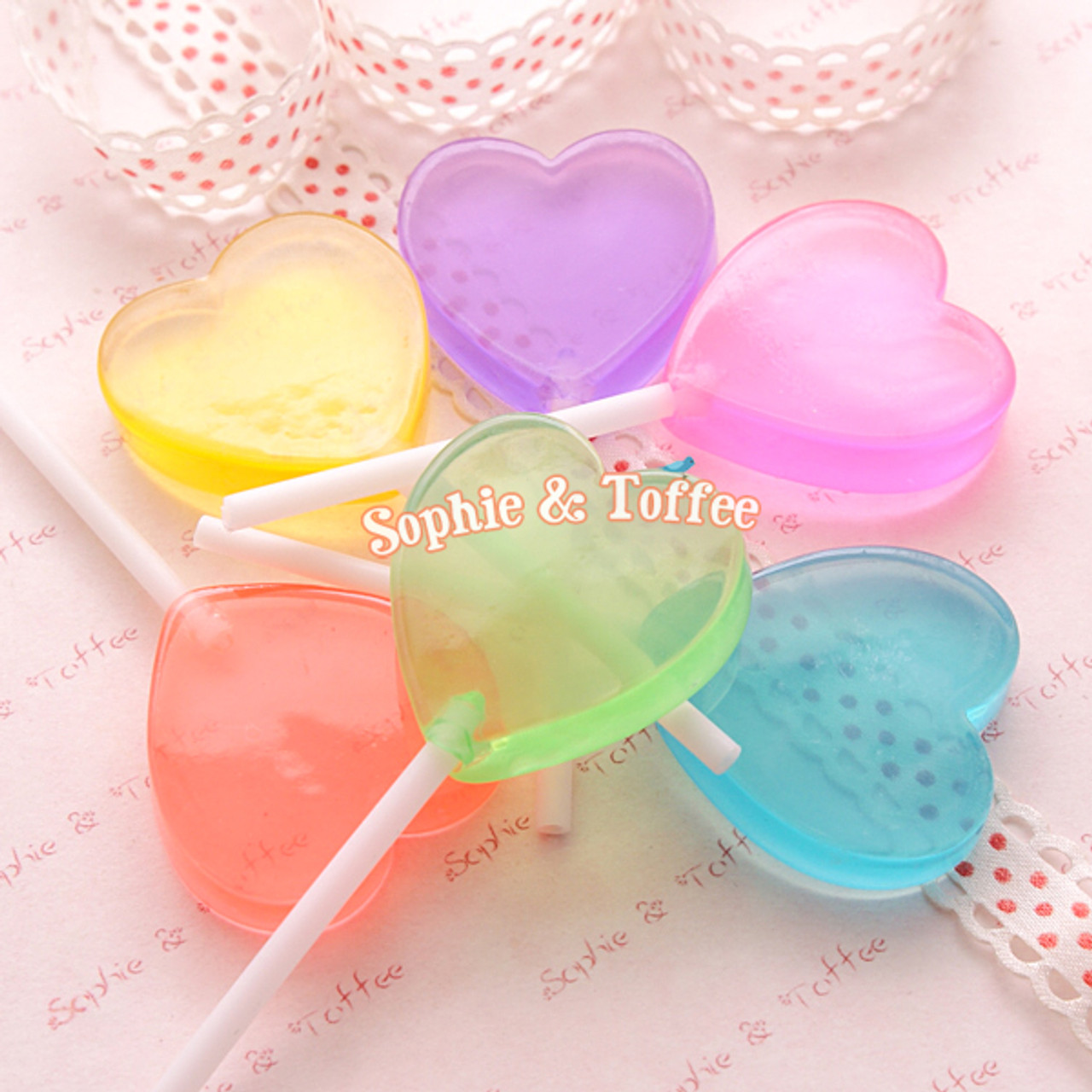 Fake Heart Candy Lollipops Decoration (Clear) 35mm - 6 pieces ...