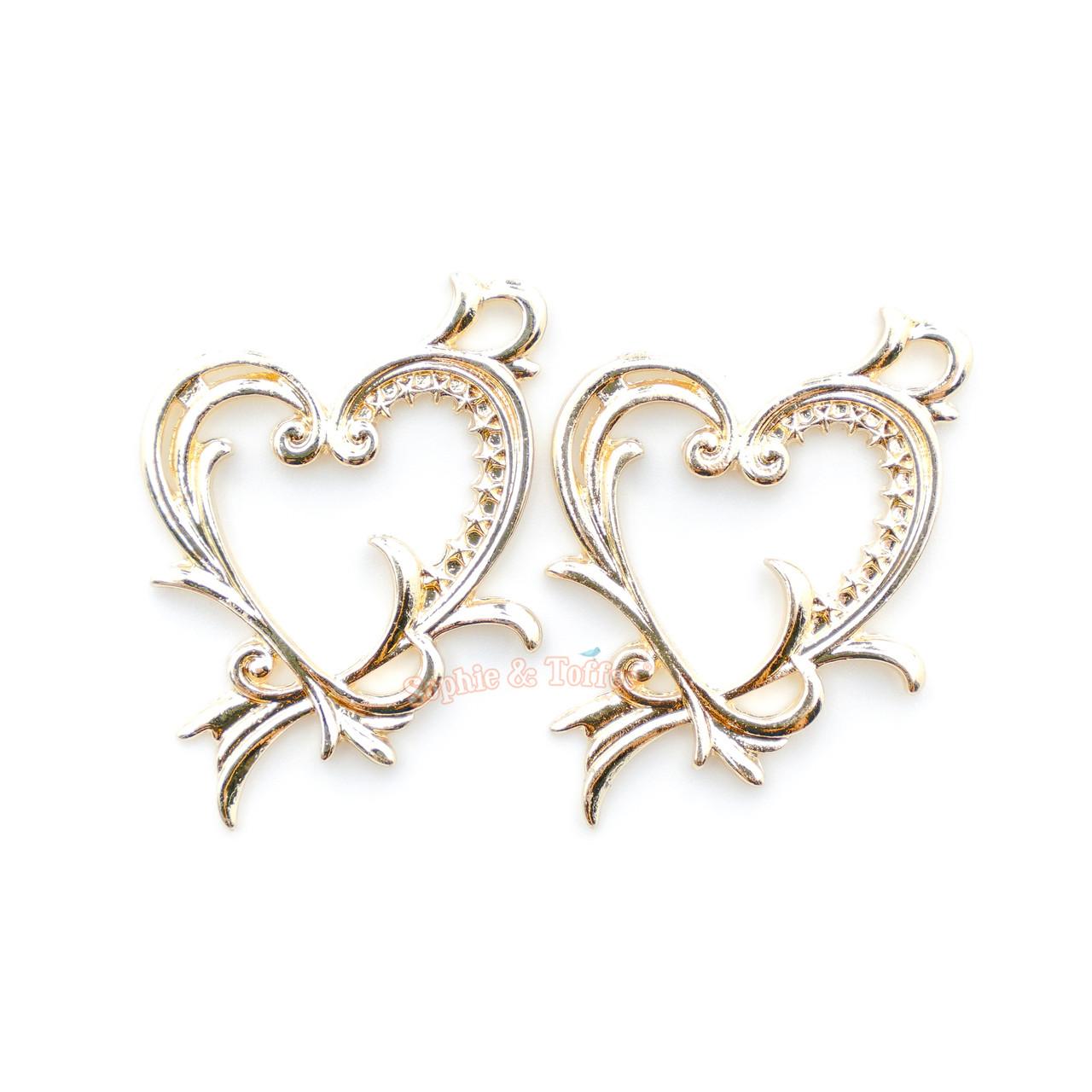 Heart Frame Star Open Bezel Charms   Ornate Heart Open Backed Bezel ...