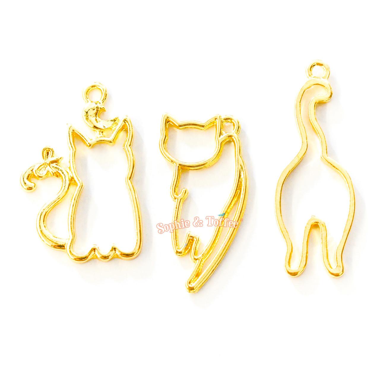 Resin open bezel,gold bezel,uv resin,resin open bezel,kitty open bezel,gold charm,resin craft