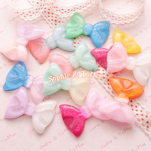 Mermaid Pastel Kei Glitter Bow Resin Cabochon (6 pieces)