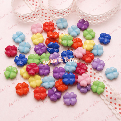 Colorful Faceted Clover Beads
