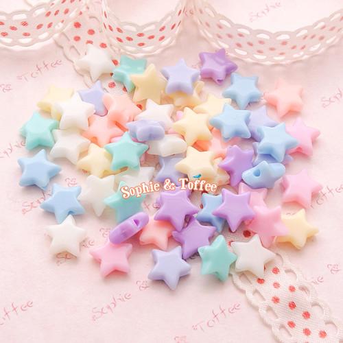 Pastel Star Beads (10mm) - 50 grams