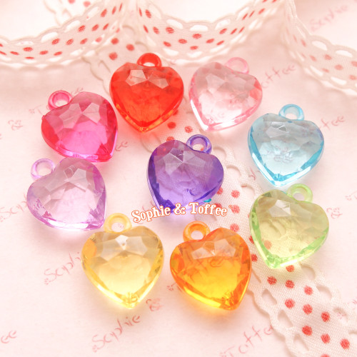 Transparent Faceted Heart Charms Beads (15x17mm) - 50 grams