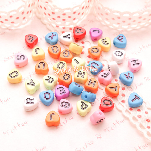 Colorful Heart Shaped Alphabet Beads (7x7mm) - 136 pieces approx.