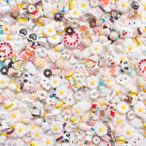 White Theme Cabochons Grab Bag - 20 pieces