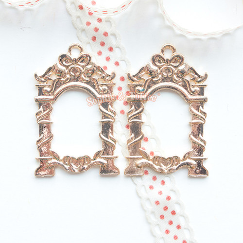 Mirror Frame Open Bezel Gold Charm (4 pieces)
