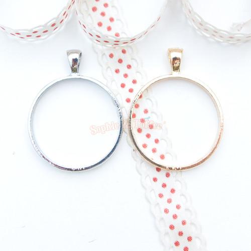 Circle Shape Open Bezel Charm - 4 pieces