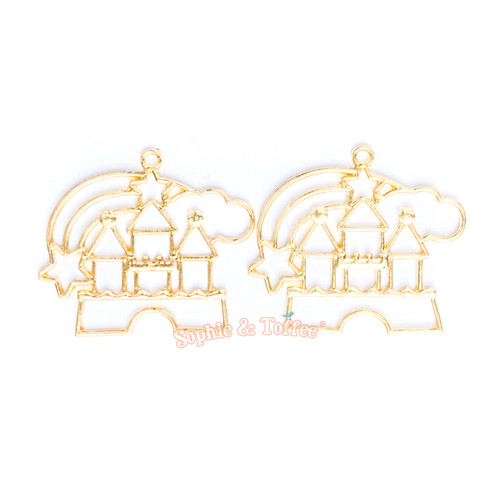 Magical Castle Open Bezel Gold Charm - 2 pcs