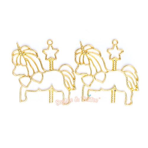 Carousel Unicorn Open Bezel Gold Charm - 2 pcs