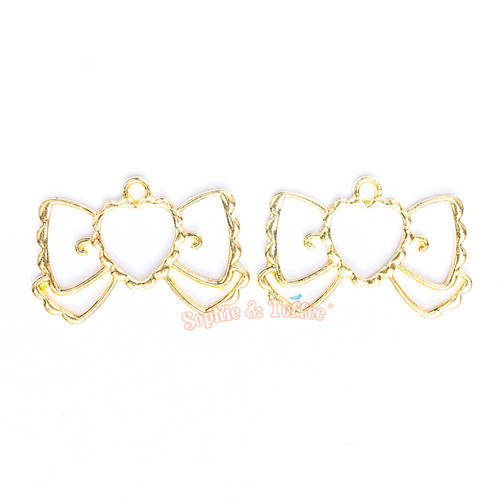 Kawaii Ribbon Open Bezel Gold Charm - 3 pcs