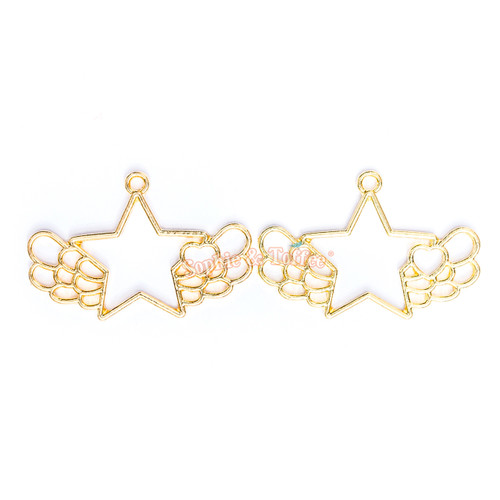 Kawaii Star Wing Open Bezel Gold Charm - 3 pcs