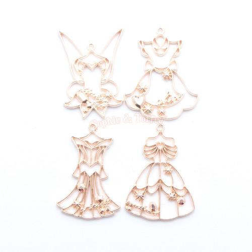 Princess Dress Open Bezel Metal Charm (Rose Gold) - 4 pieces