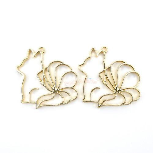 Nine Tails Fox Open Bezel UV Resin Gold Charm (4 pieces)