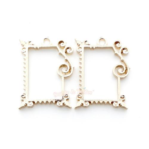 Fancy Rectangle Frame Open Bezel Charms   Rectangular Frame Open ...