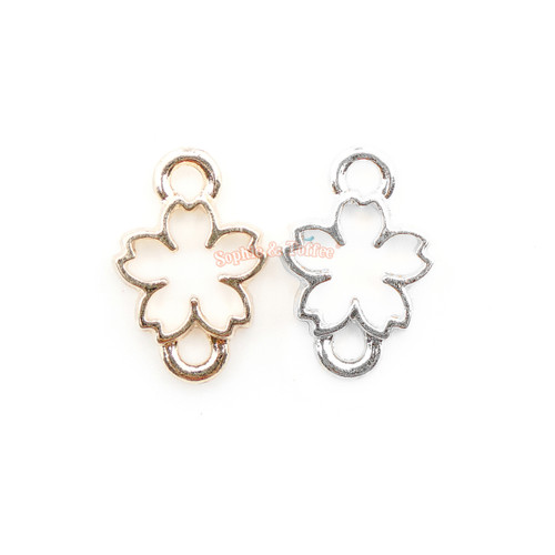 Small Sakura Flower Connector Open Bezel Charm (8 pieces)