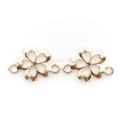 Sakura Flower Connector Flat Back Open Bezel Charm (8 pieces)
