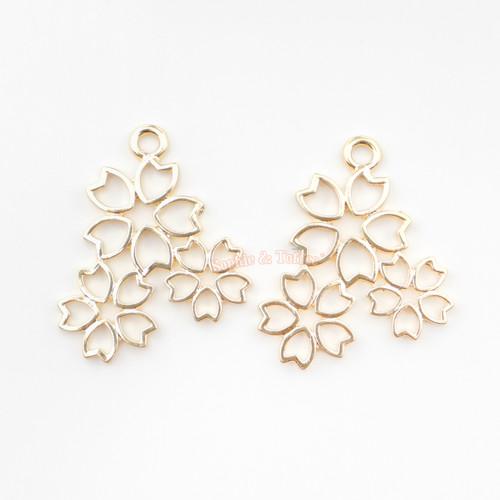 Sakura Cherry Blossom Open Bezel Charm (4 pieces)