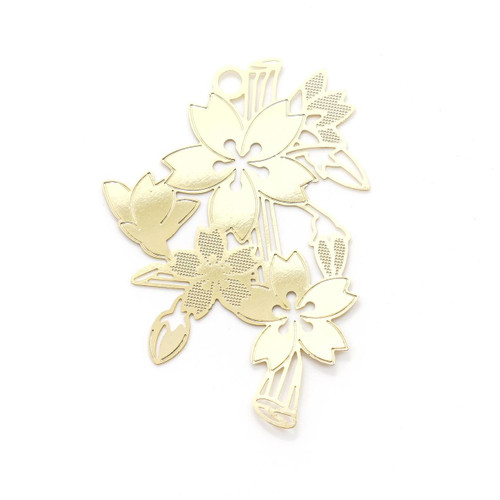 Sakura Flower Metal Gold Foil Resin Backing