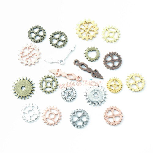 Small Clock Parts Steampunk Metal Charm Inclusions (20 pieces)