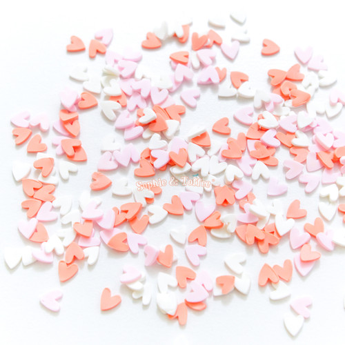 Red Hearts Confetti Polymer Clay Fake Sprinkles Toppings (50 grams)