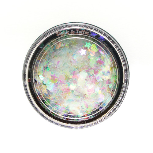 Holographic Rainbow Glitters in Shapes Confetti (3 Pots)
