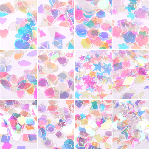 Holographic Rainbow Glitters in Shapes Confetti (12 Designs)