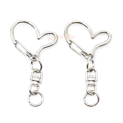 Silver Heart Snap Clip Key Chain (6 pieces)